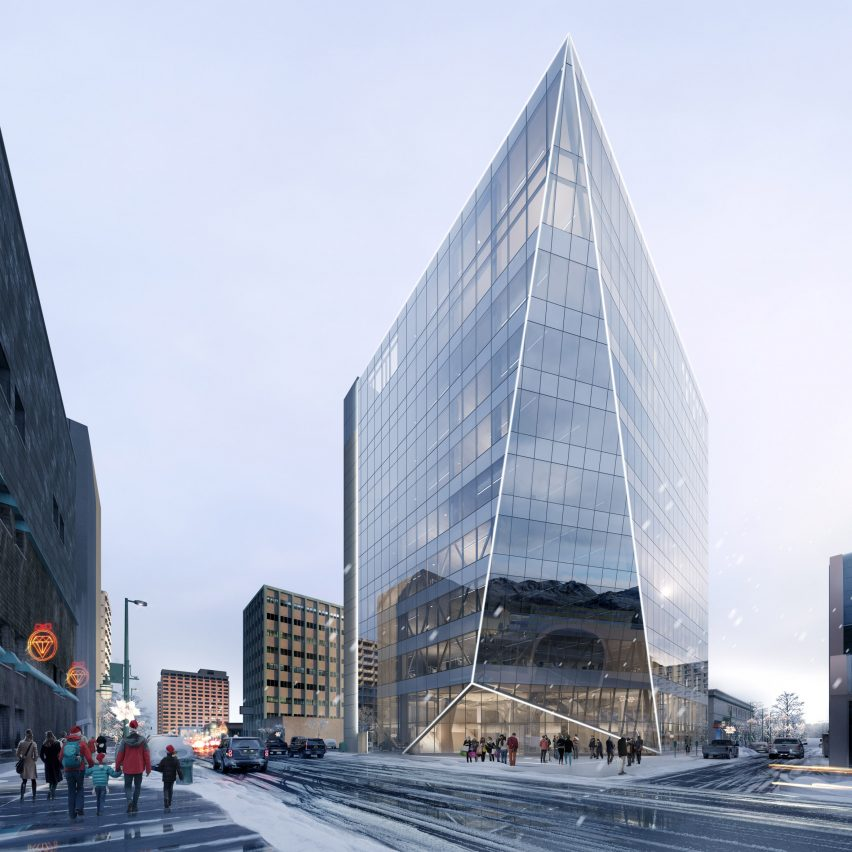 A visual of an angular office in Alaska by Perkins and Will
