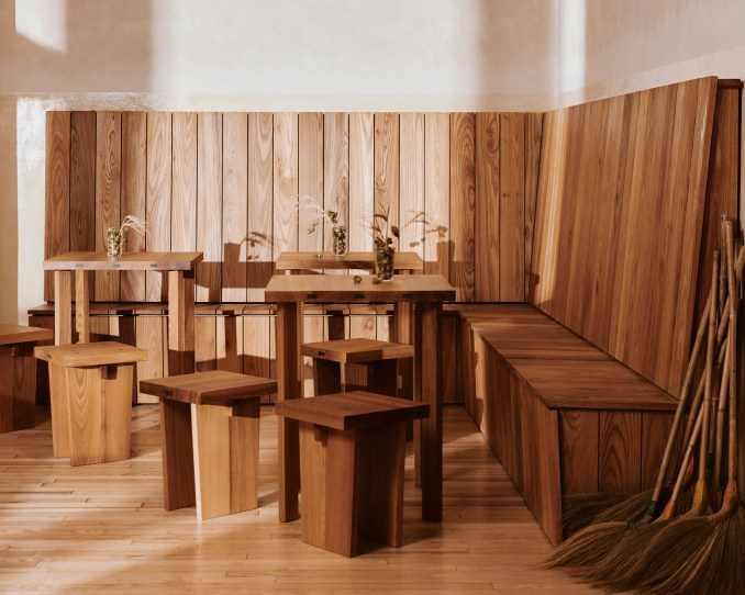 Corner bench and seating area of Berlin bakery by Mathias Mentze, Alexander Vedel Ottenstein and Dreimeta