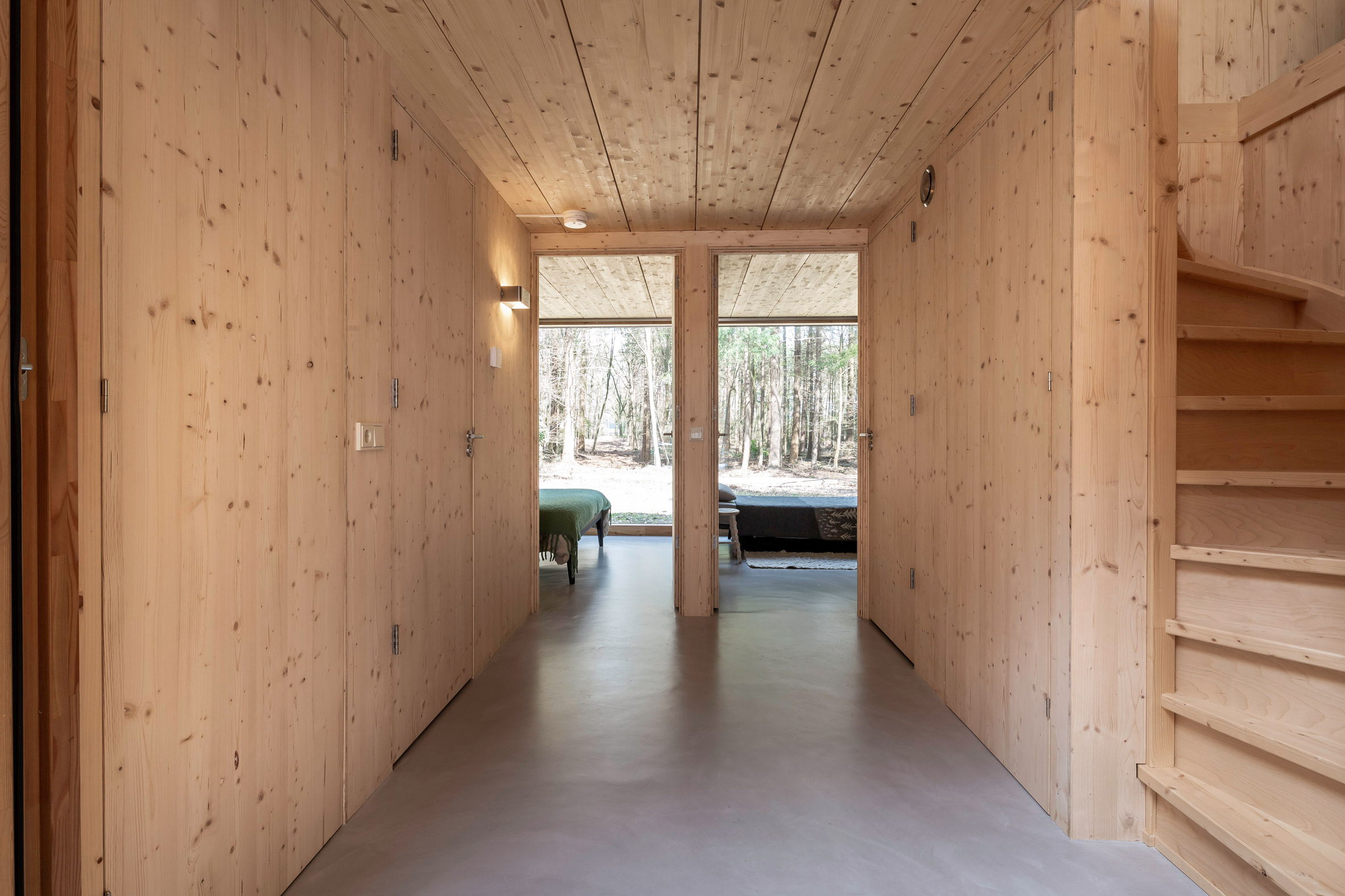 Wood-lined interiors of a Dutch cabin