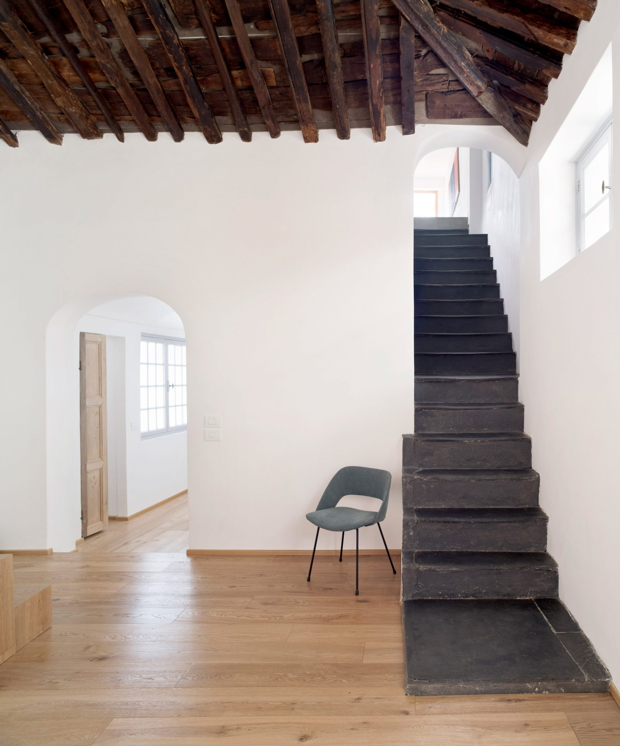 Slate staircase in House for a Sea Dog in Genoa by Dodi Moss