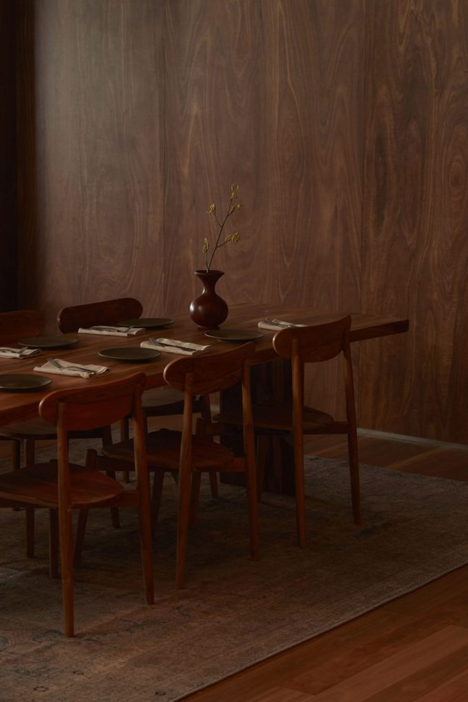 Wood-clad dining area in Three Blue Ducks restaurant in Melbourne Urbnsurf by Pattern