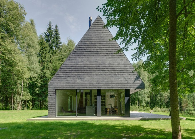 A Lithuanian house clad in shale tiles