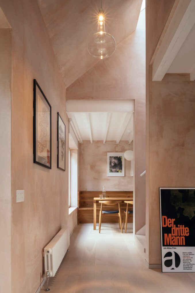 Council House Renovation with pink plaster walls