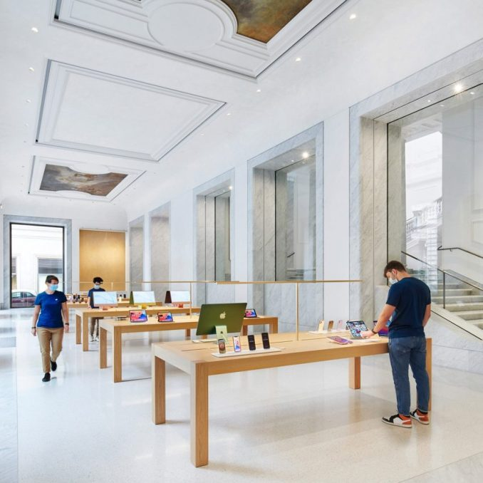 The Apple Store has marble interiors