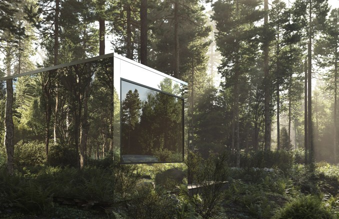 Mirrored cabins that will be built in Canada