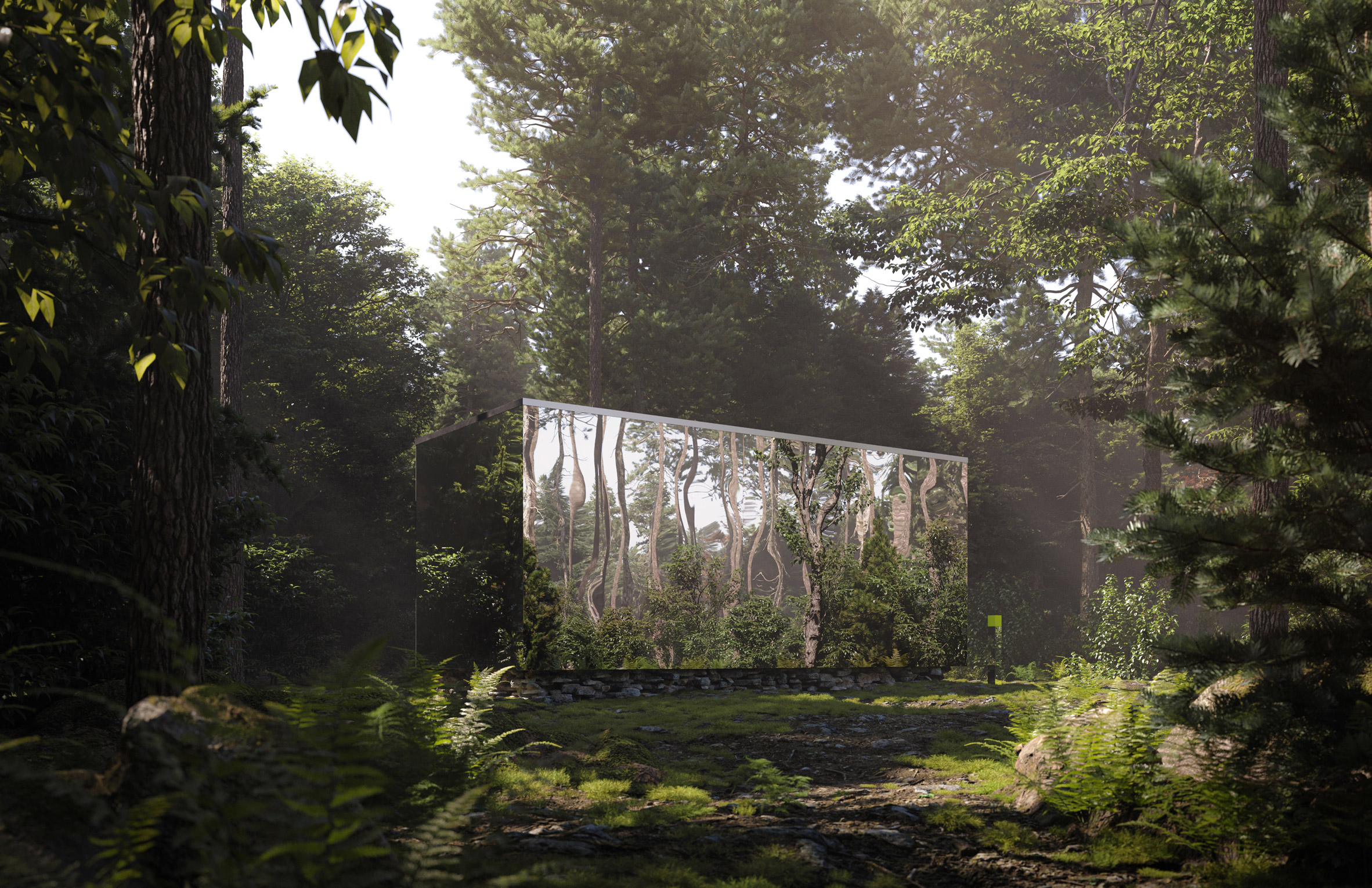 Exterior of a mirrored cabin planned for Canada