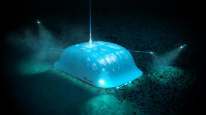Robotic polymetallic nodule collector robot crawling the seafloor