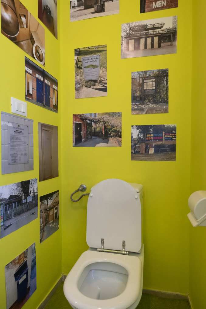 A toilet used as exhibition space