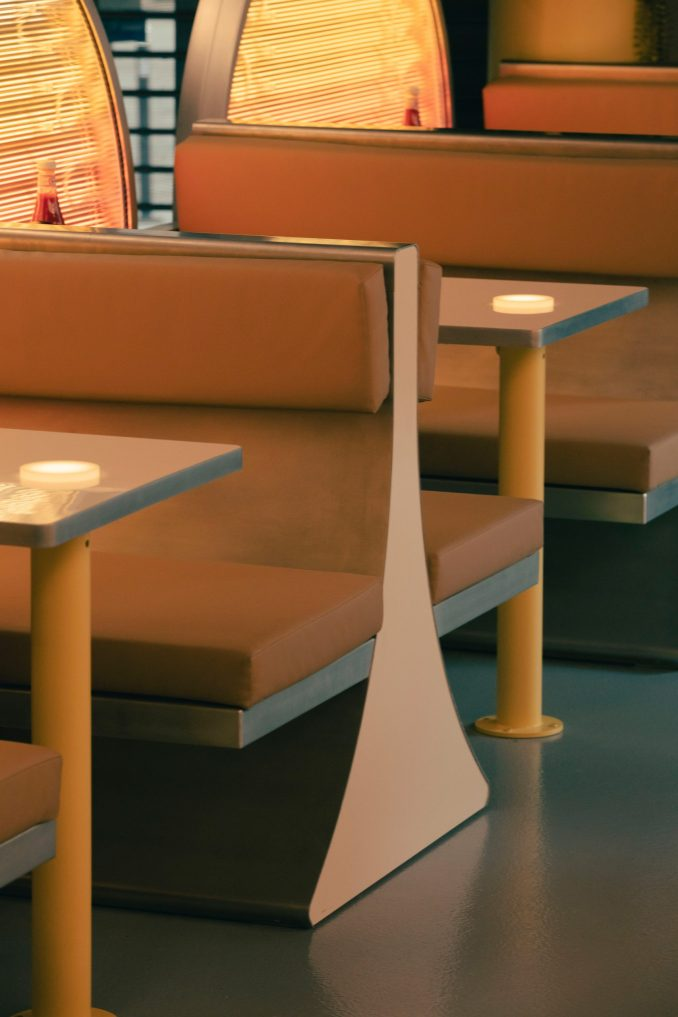 Booth seating has an angular design
