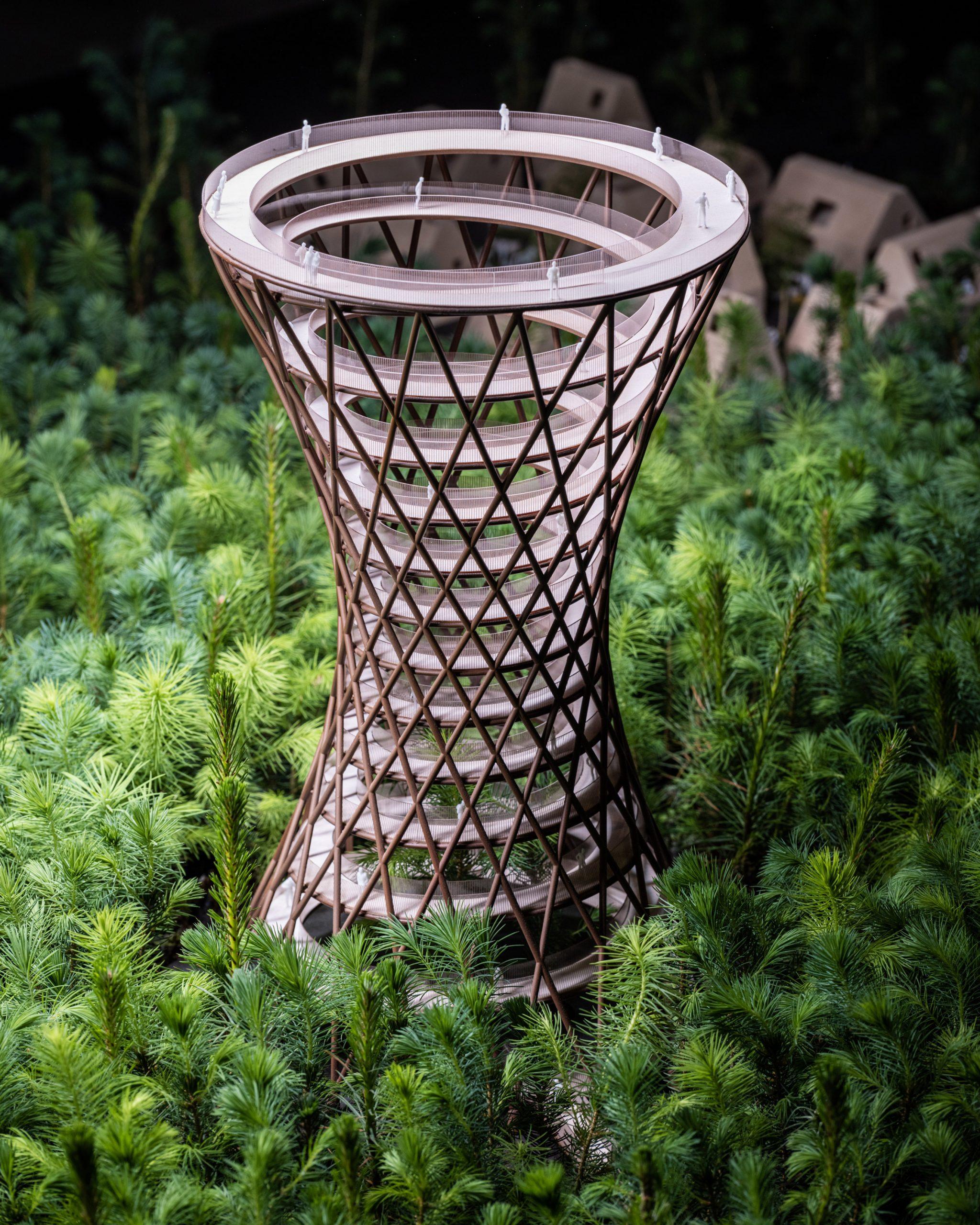 Architectural model of EFFEKT's forest tower