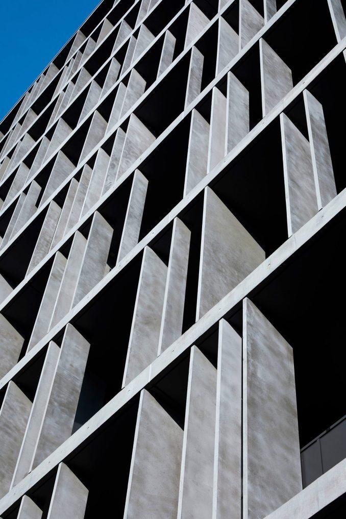 The exterior of Kannai Blade Residence is dark grey