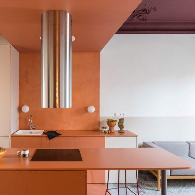 Orange kitchen in Barcelona