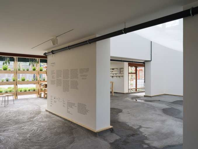 Concrete covers the floors of the Danish Pavilion
