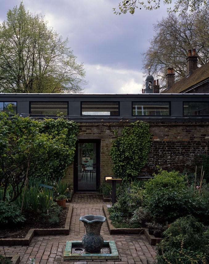 A brick-walled garden