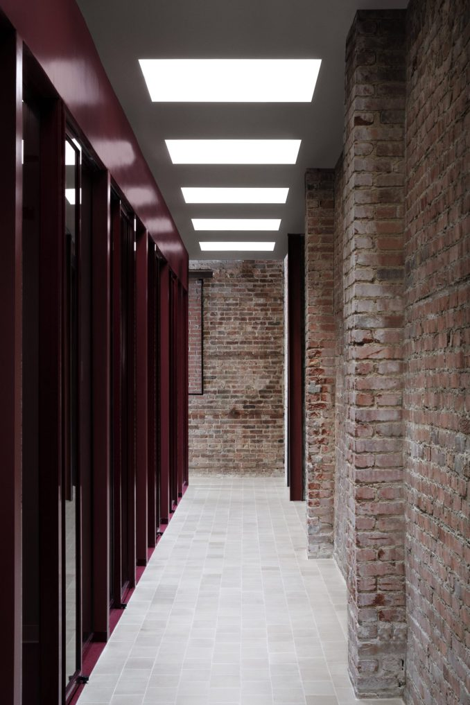 Skylights throw light onto the office's corridors