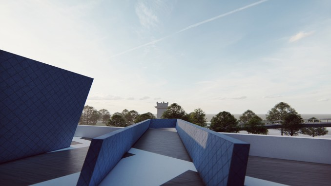 A visual of a museum roof terrace