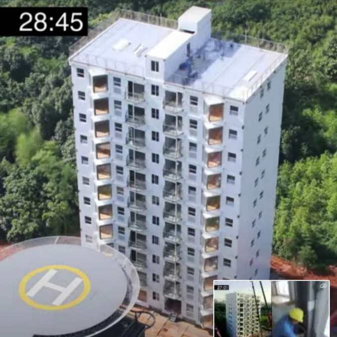 10-storey stainless-steel apartment block in 28 hours