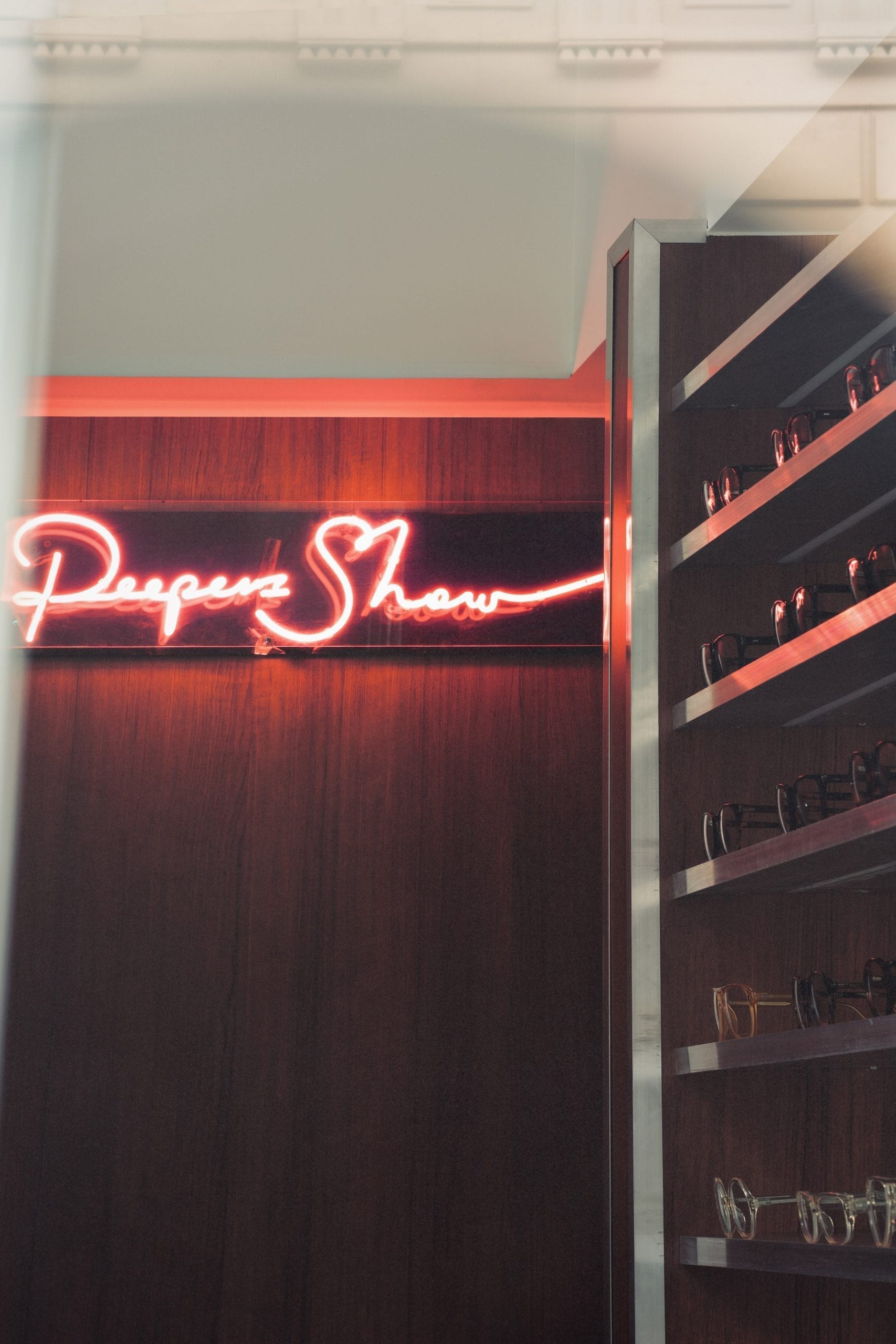 Neon peep show sign in Cubitts Soho store