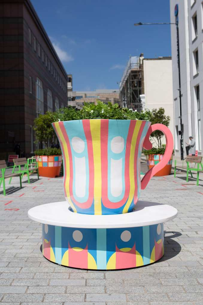 A bench that resembles a giant teacup