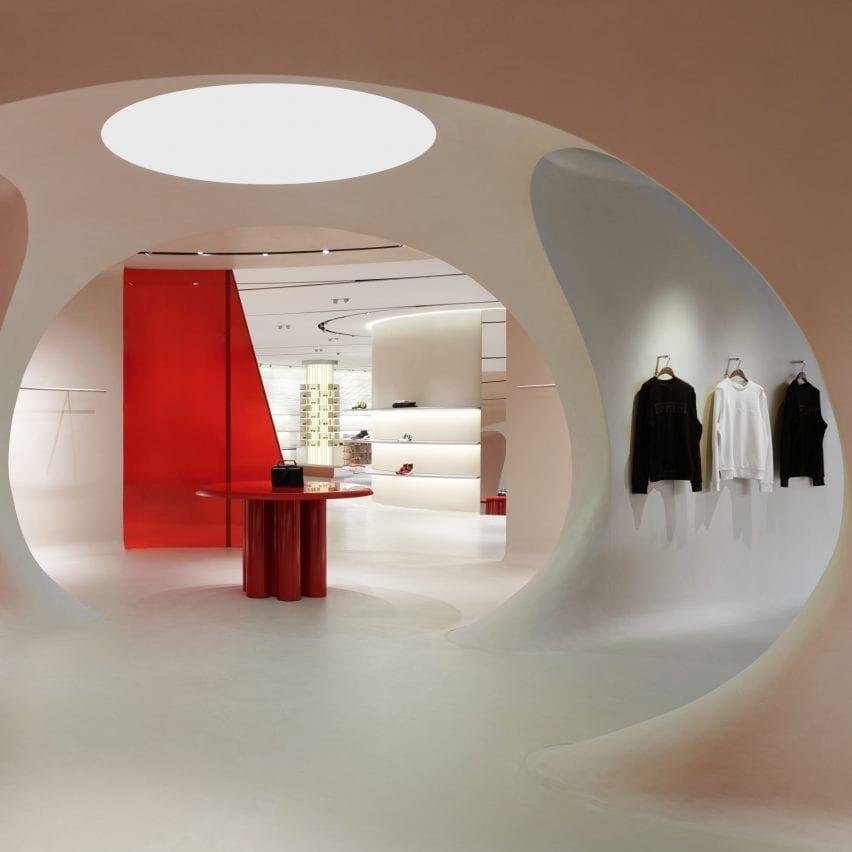 Ferrari Maranello store interior by Sybarite