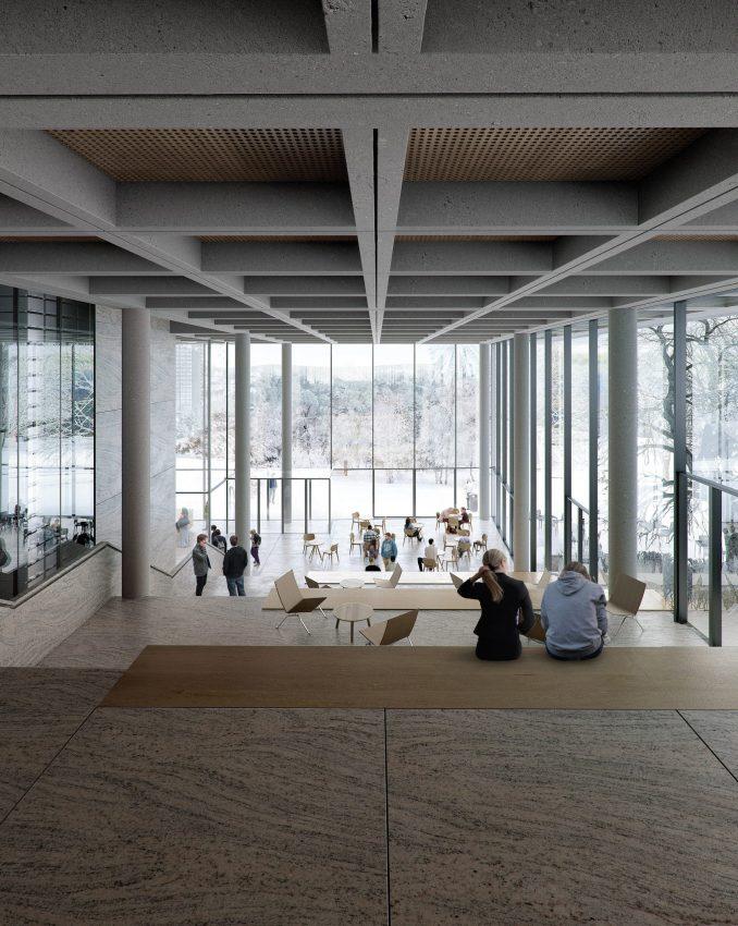 Gothenburg University library ground floor looking onto park