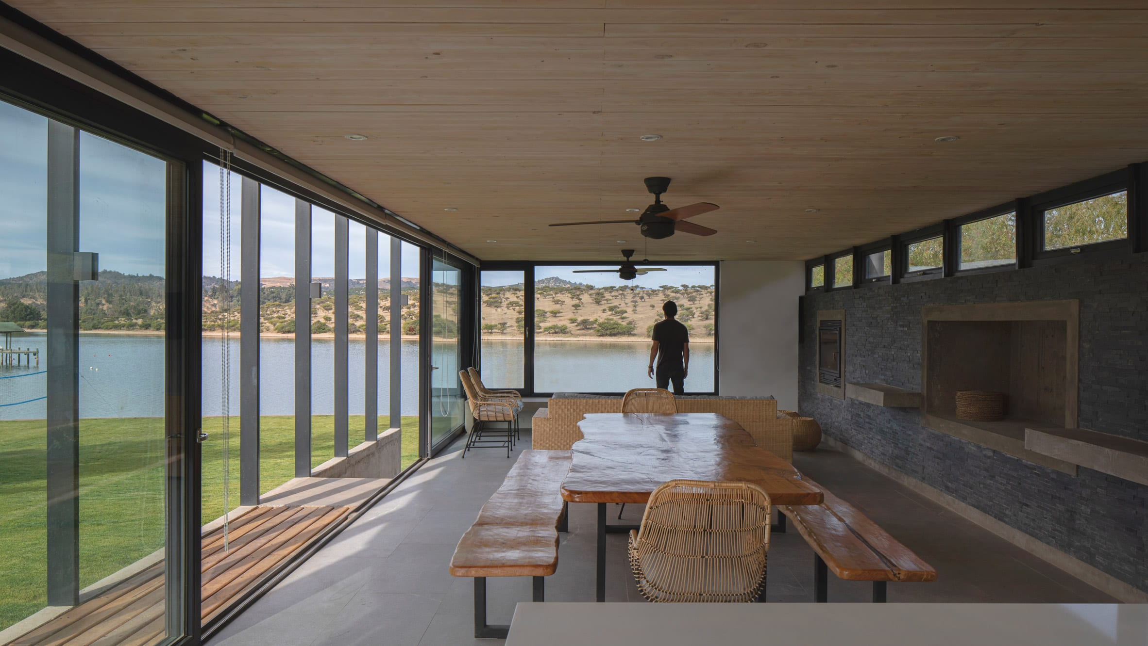 Dining room in holiday home overlooking lake