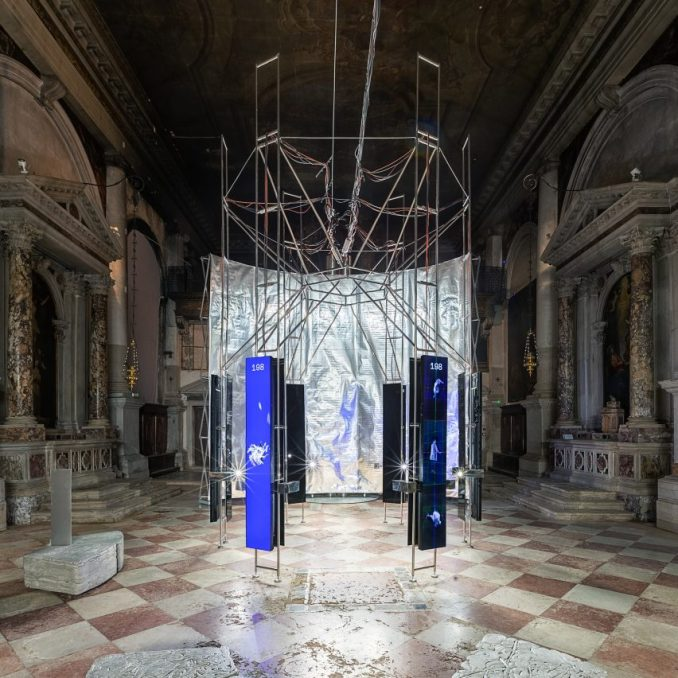 The installation is located in a church