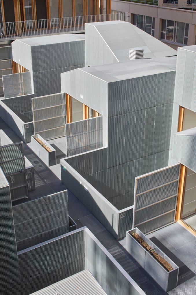 Metallic apartment blocks