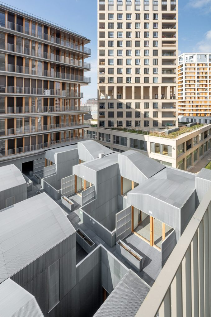 An aerial view of a mixed-use development in Paris