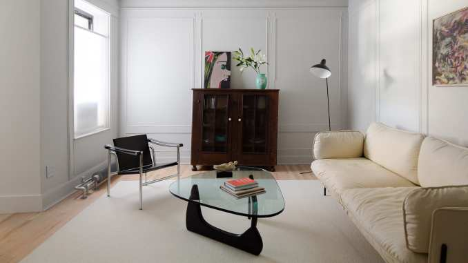 Brooklyn apartment living room with minimalist furniture