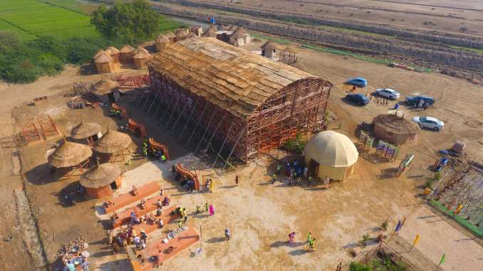 Aerial view of Zero Carbon Cultural Centre in Makli by Yasmeen Lari