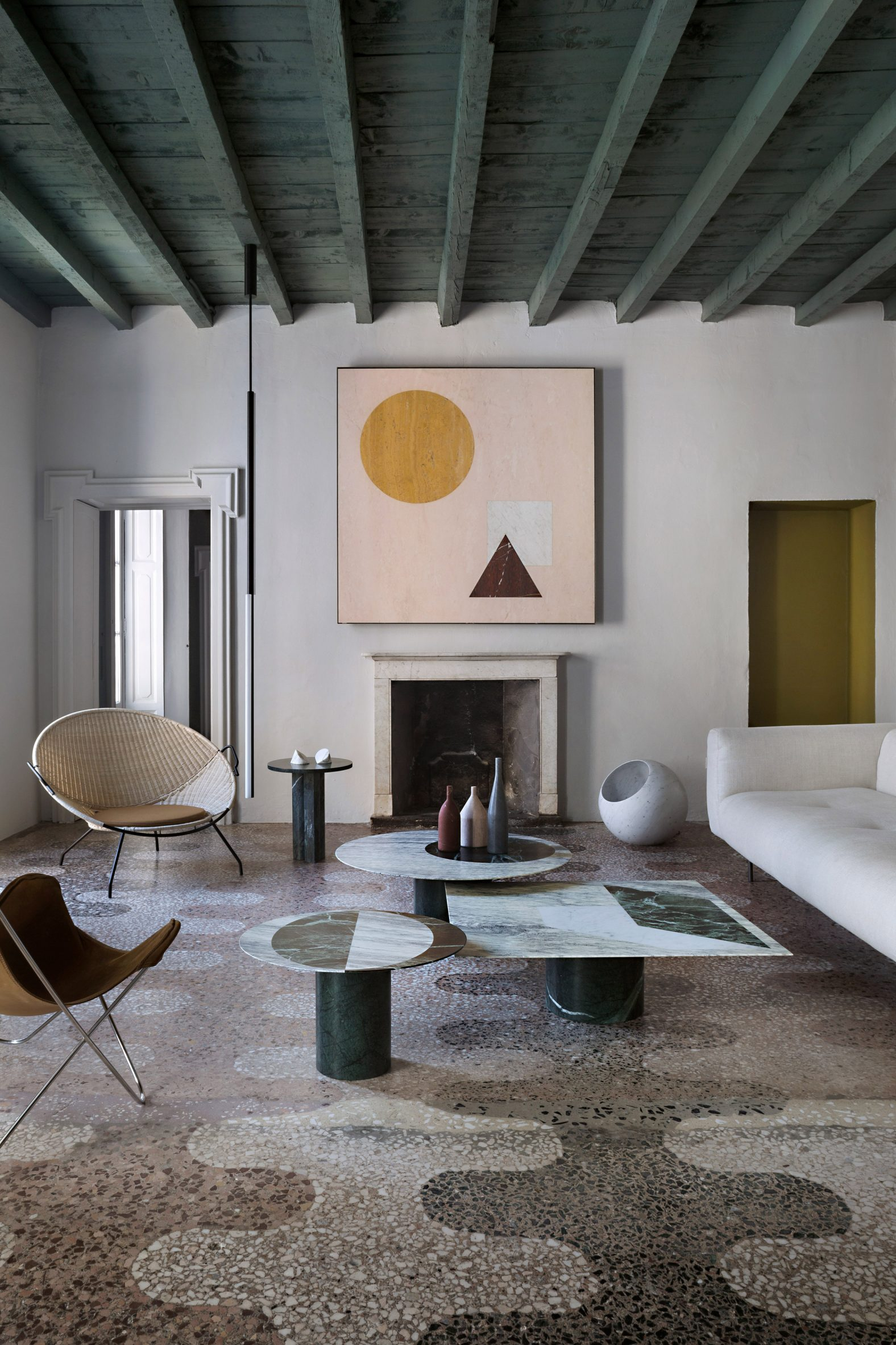 Art-filled interior space in Italy