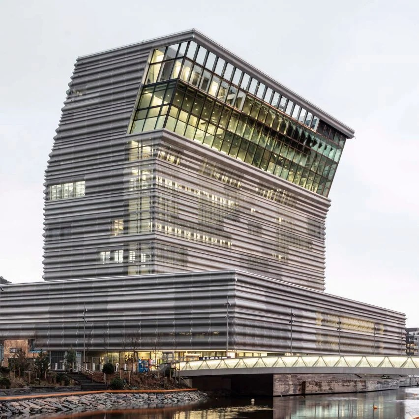 The building has a sloping form