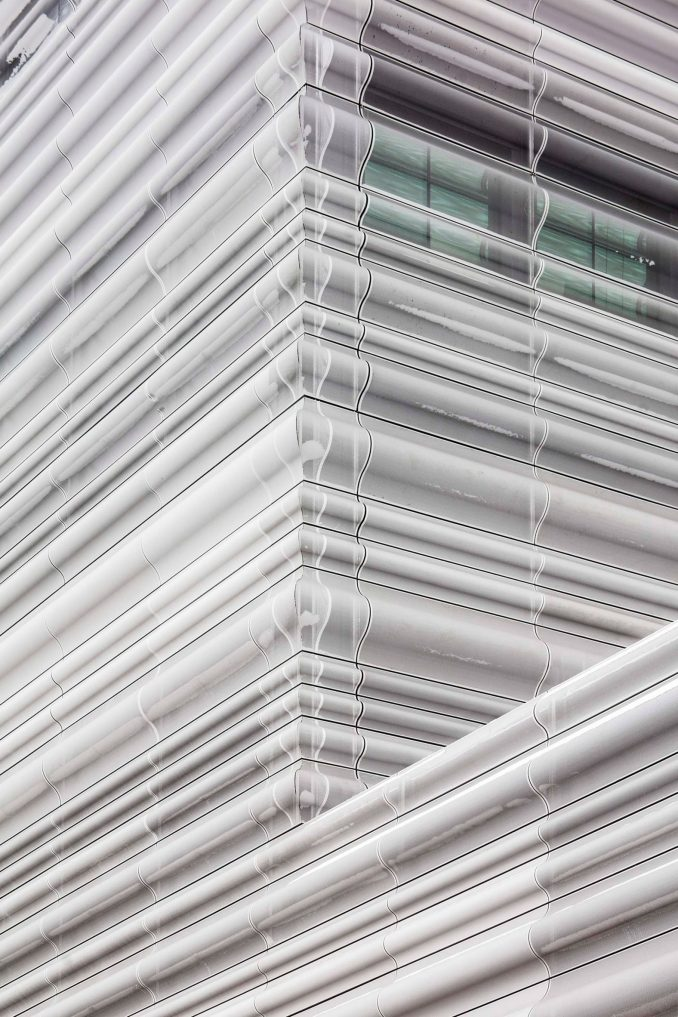 The munch museum is clad in a translucent material