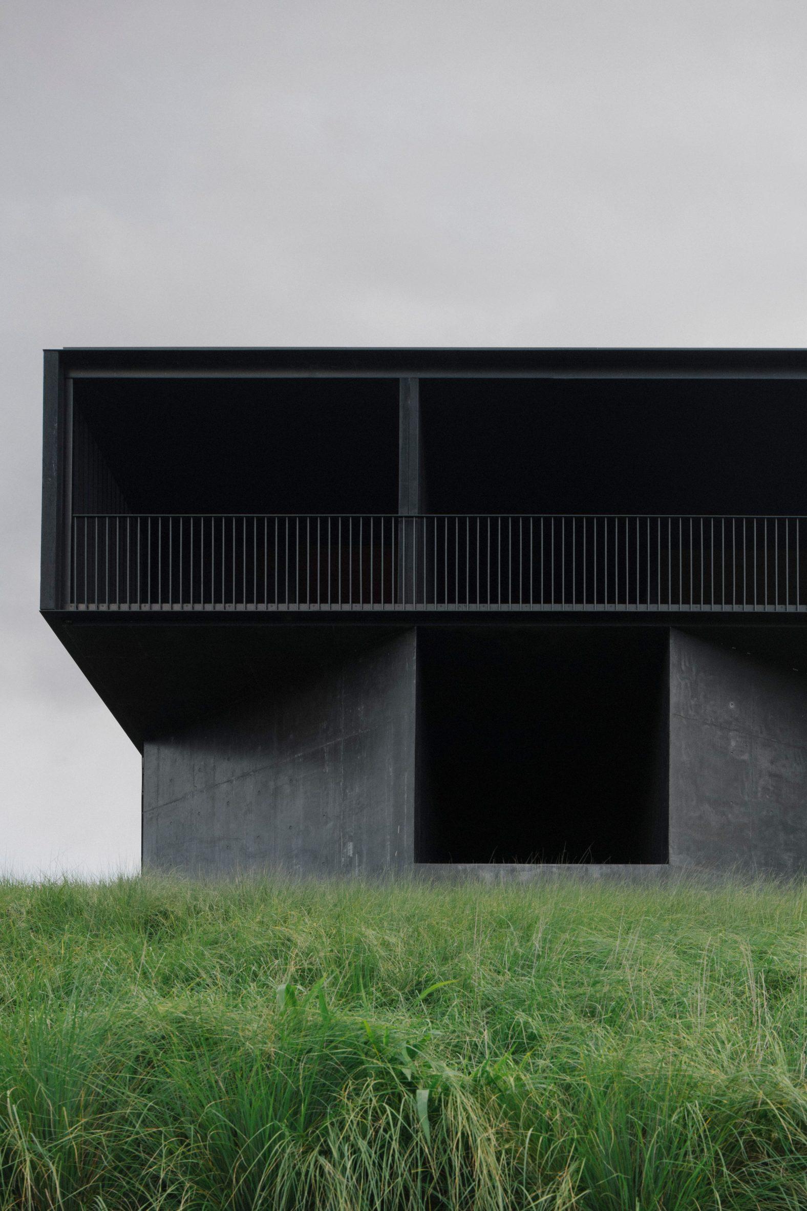A black concrete house