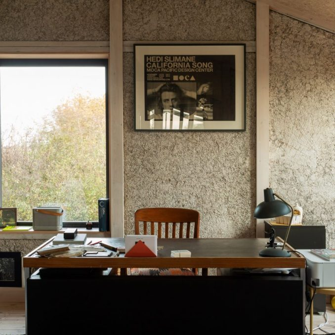 An office with exposed hempcrete walls