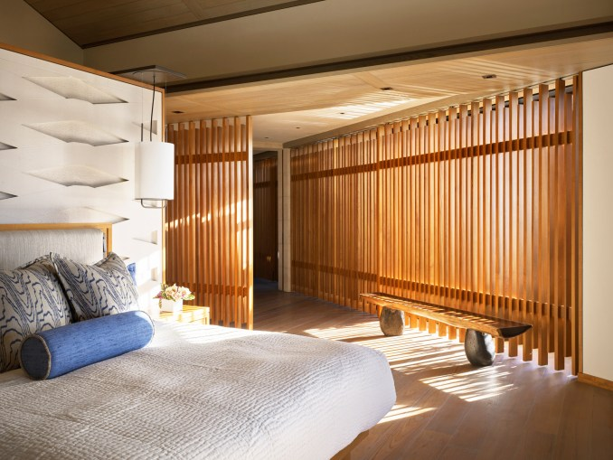 Light floods into a bedroom