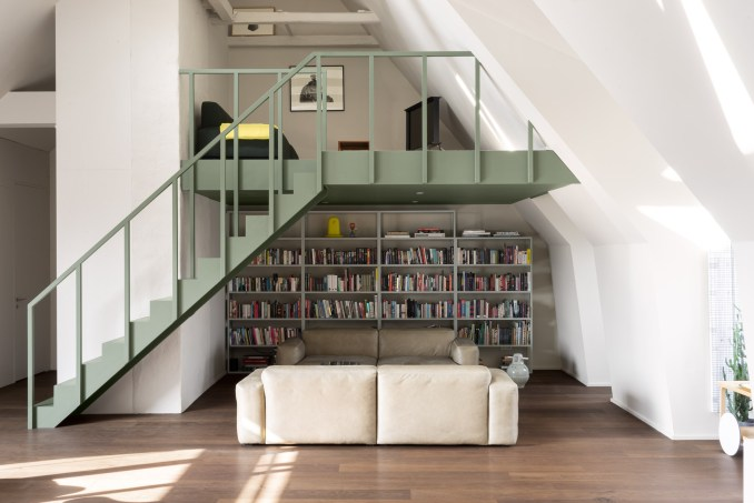 Sage green mezzanine by Note Studio