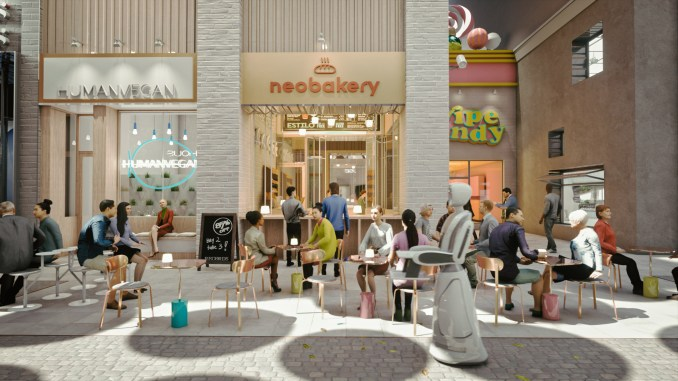 Renders of cafes in proposal for New York's Flower District