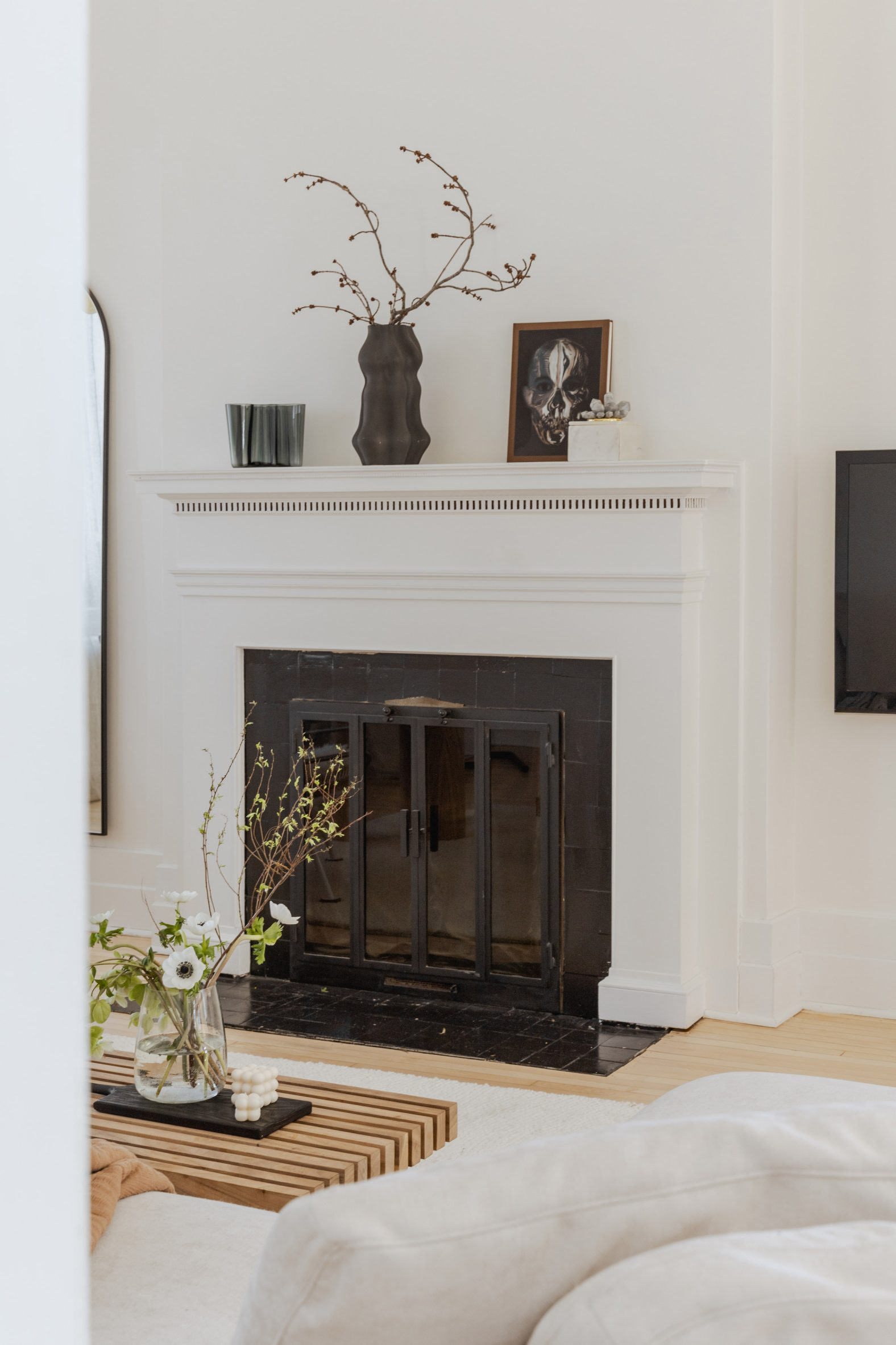 Fireplace with art objects