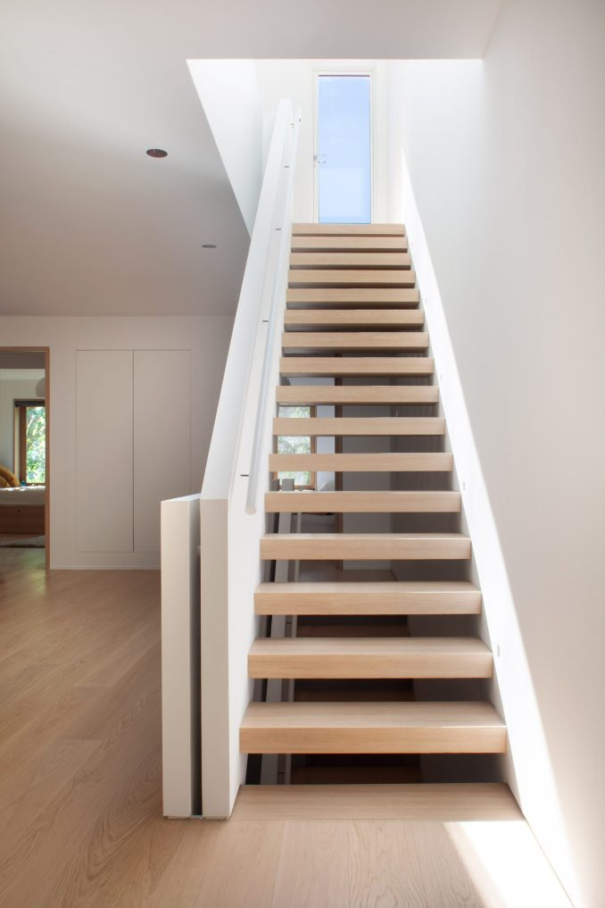 A staircase is one of the townhouse's central features