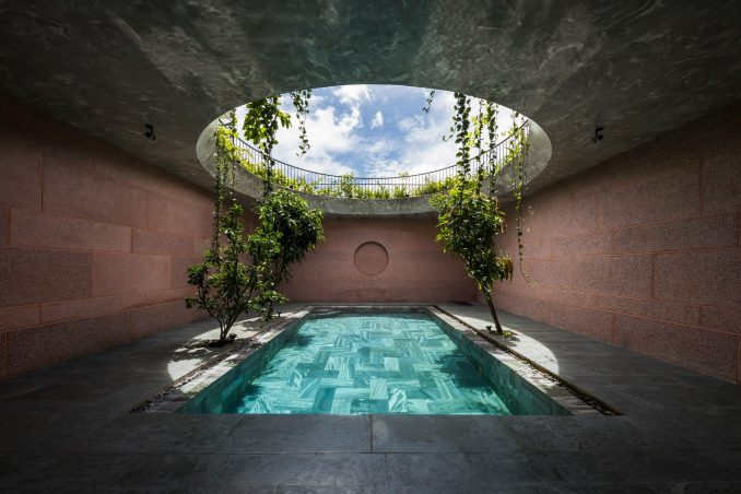 A rectangular pool was placed beneath a circular opening