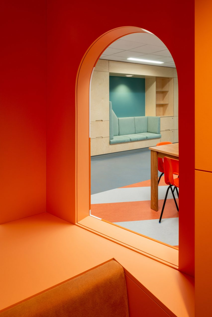 Orange lighthouse interior at CAMHS Edinburgh mental health unit by Projects Office