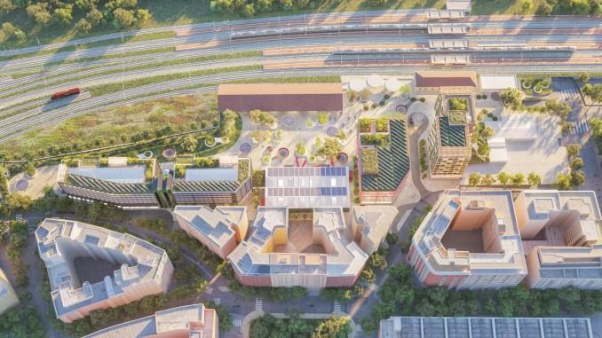 Aerial render of Campo Urbano development by Arney Fender Katsalidis