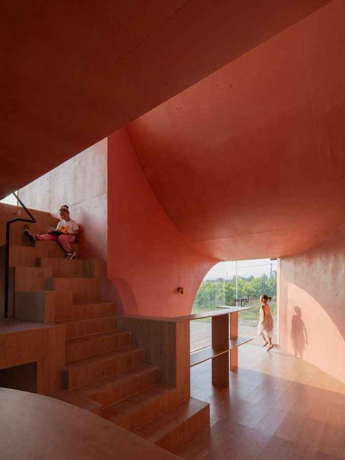 The pink interiors of the Peach Hut