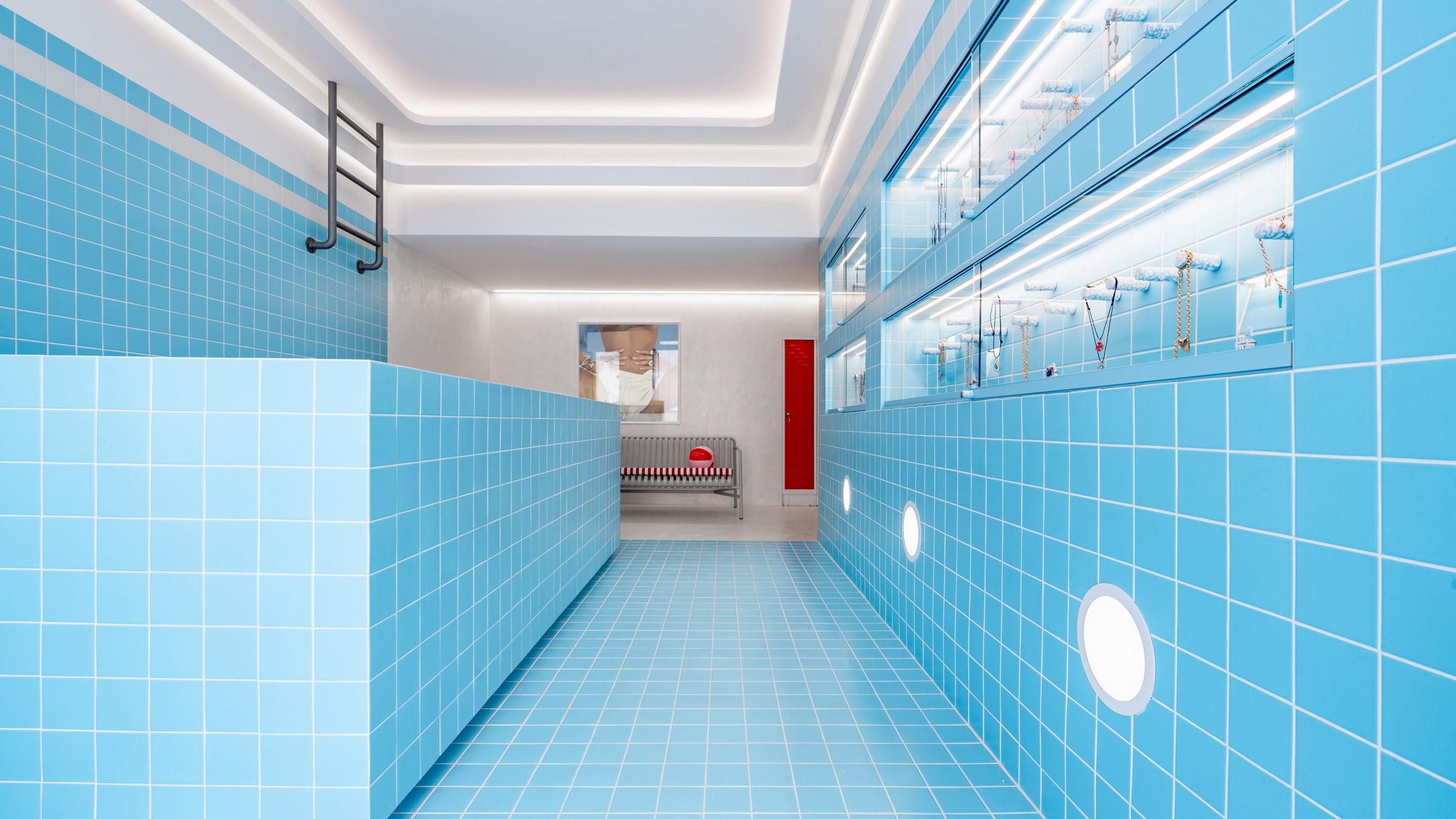 a blue tiled interior
