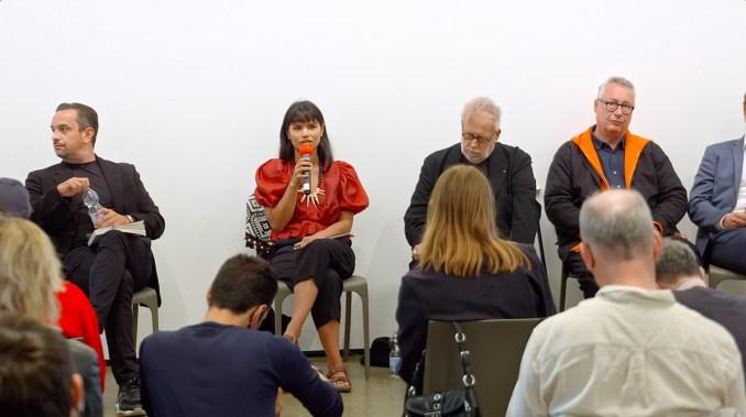 Nina Gualinga at wellbeing culture forum talk