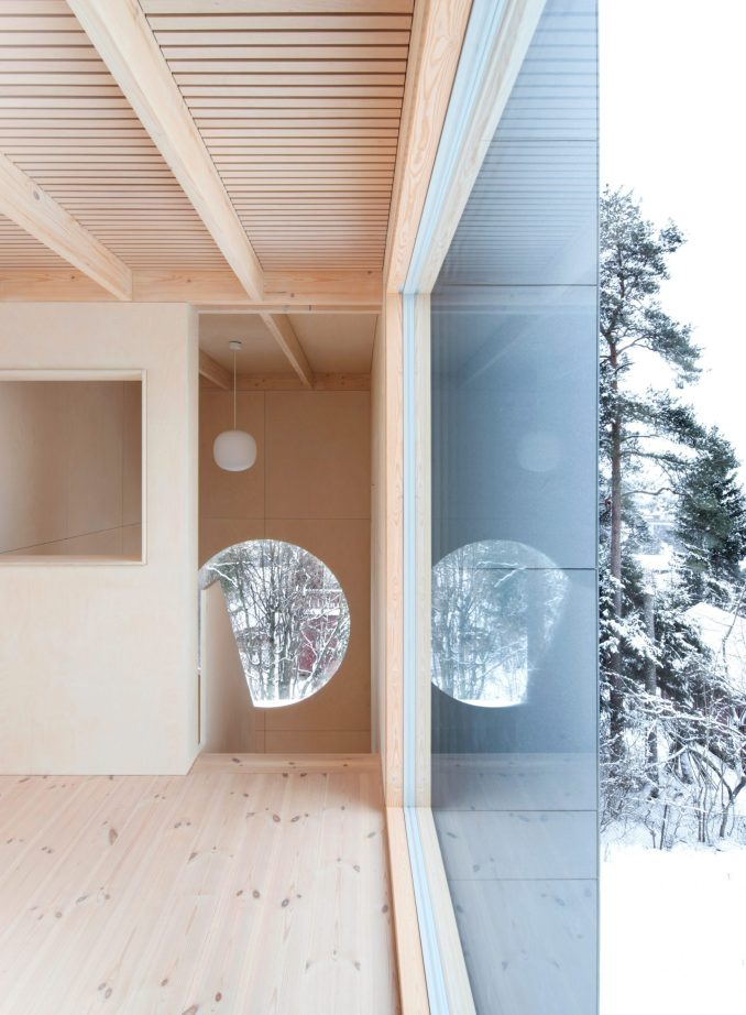 A wood-lined house interior