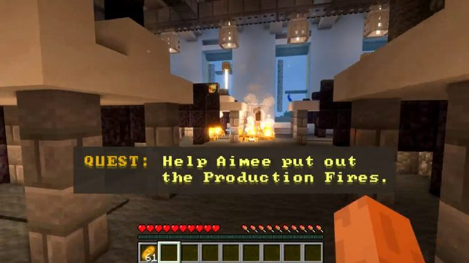 In-game screenshot by WPP showing user putting out a Production Fire
