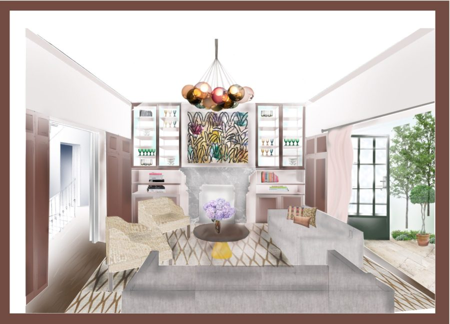 An illustration of a family living room